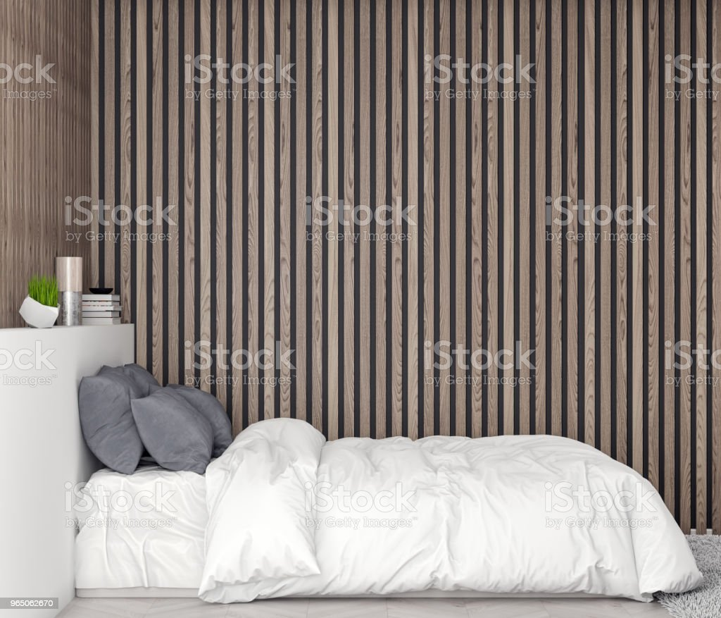 Mock up poster frame in bedroom interior background with wood wall planks, 3D illustration zbiór zdjęć royalty-free