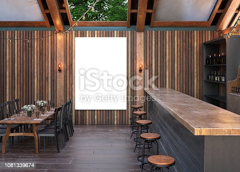 istock Mock up poster frame in cafe interior background, Modern outdoor bar restaurant 1081339674