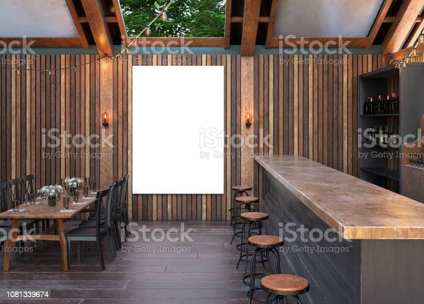 Mock Up Poster Frame In Cafe Interior Background Modern Outdoor Bar Restaurant Stock Photo Download Image Now Istock