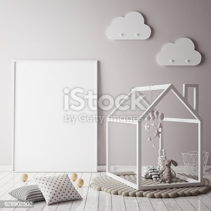 istock mock up poster frame in children room, scandinavian style interior 626902502