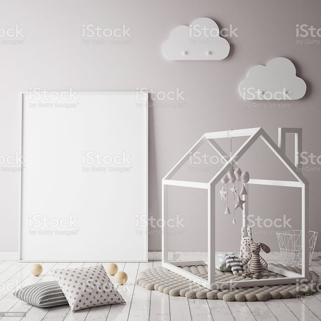mock up poster frame in children room, scandinavian style interior stock photo