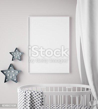 831639392 istock photo mock up poster frame in children room, scandinavian style interior 626902538
