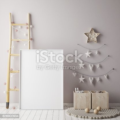 istock mock up poster frame in children room, scandinavian style interior 626902634