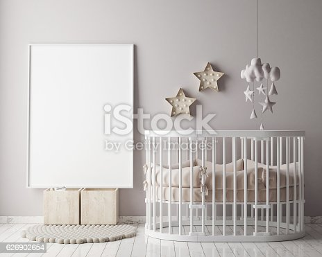 686648930 istock photo mock up poster frame in children room, scandinavian style interior 626902654