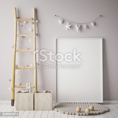 686649068 istock photo mock up poster frame in children room, scandinavian style interior 626902674