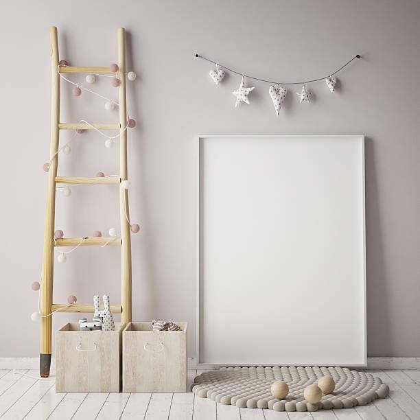 mock up poster frame in children room, scandinavian style interior - kinderzimmer wand stock-fotos und bilder
