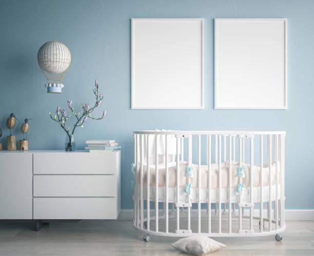 Mock up poster frame in children room, scandinavian style interior background stock photo