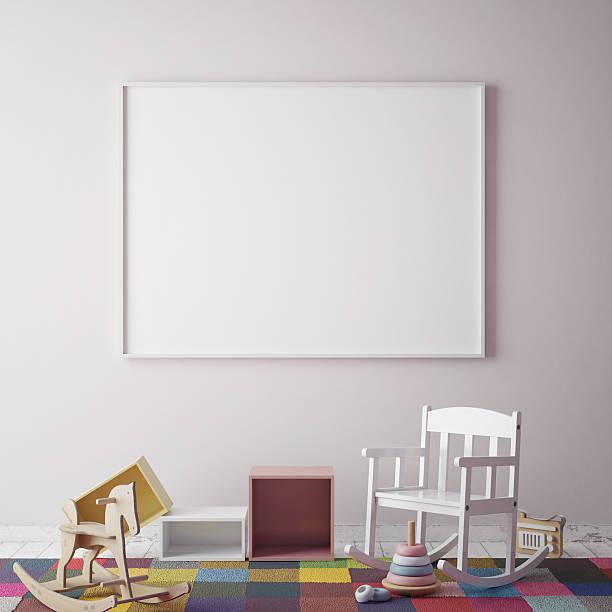mock up poster frame in children room, scandinavian style - tafel schlafzimmer stock-fotos und bilder