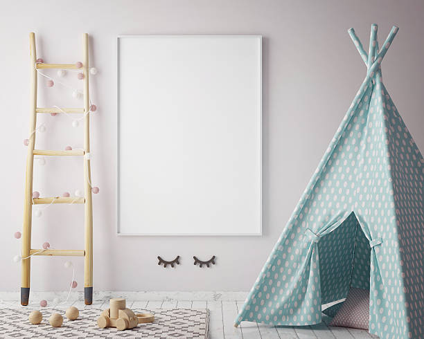 mock up poster frame in children room, scandinavian style stock photo