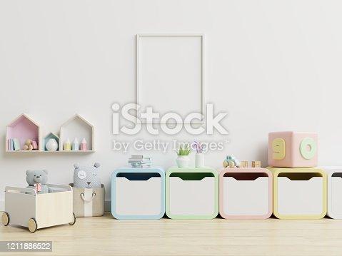 1208254898 istock photo Mock up poster frame in children room,kids room,nursery mockup. 1211886522