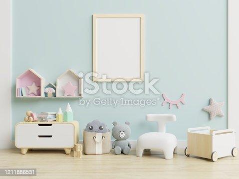 1208254898 istock photo Mock up poster frame in children room,kids room,nursery mockup. 1211886531
