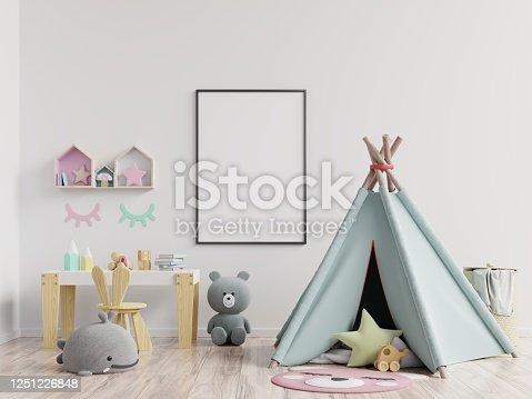 1208254898 istock photo Mock up poster frame in children room,kids room,nursery mockup. 1251226848