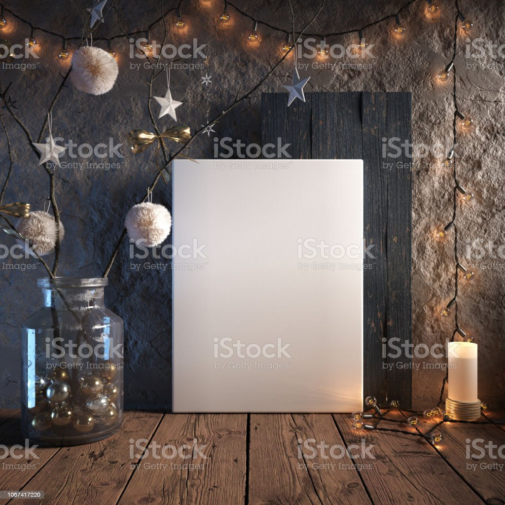 Mock up poster frame in cozy interior background, Christmas decoration stock photo