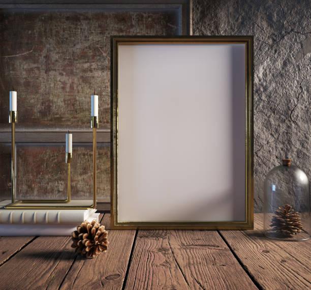 mock-up posterrahmen im gemütlichen innenraum hintergrund, weihnachtsdekoration - promi zuhause stock-fotos und bilder