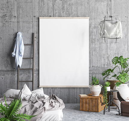istock Mock up poster frame in hipster bedroom interior background 952531050