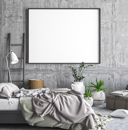 istock Mock up poster frame in hipster bedroom interior background 952531088