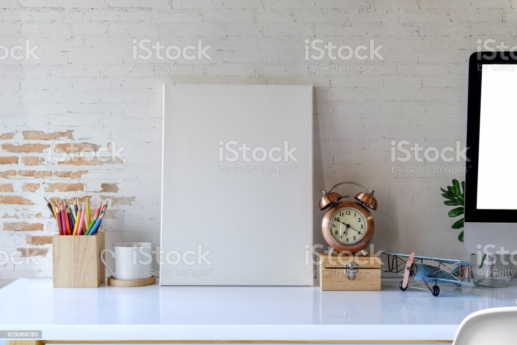 Mock Up Poster Frame In Hipster Desk Space Background Royalty Free Stock Photo
