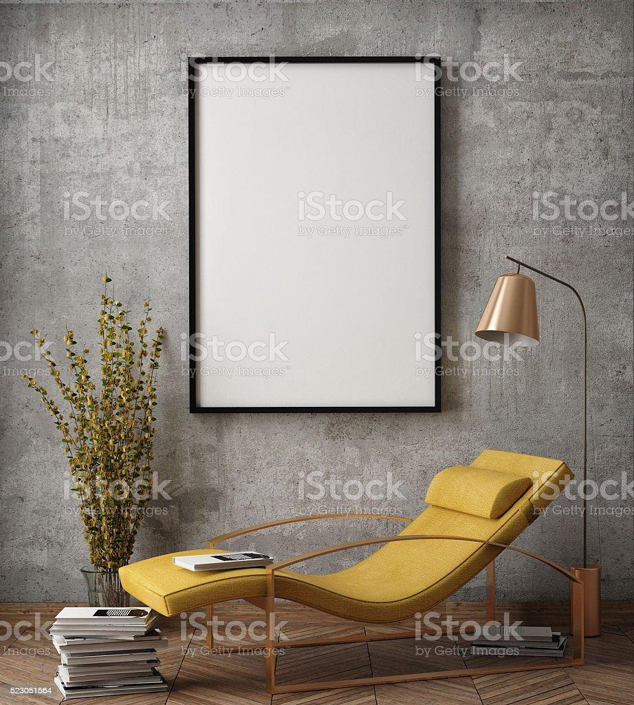 mock up affiche DE hipster cadre intérieur de l'arrière-plan - Photo