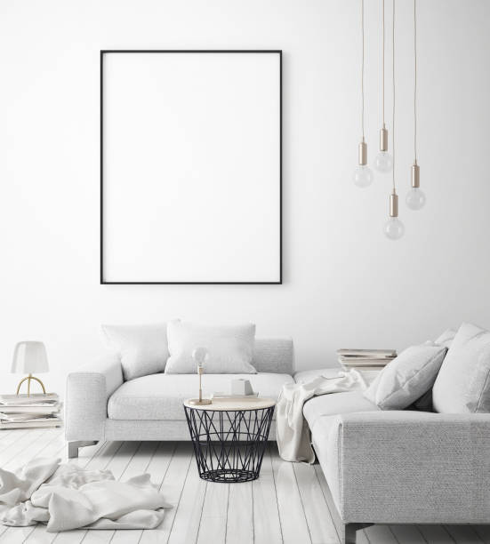 mock up poster frame in hipster interior background, scandinavian style, 3d render - graphic print stock photos and pictures