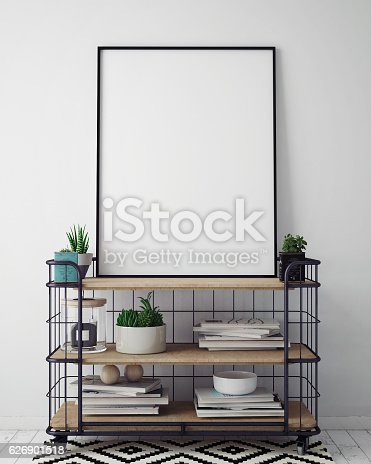istock mock up poster frame in hipster interior background, scandinavian style 626901518