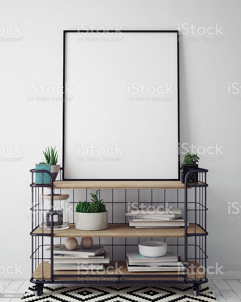 mock up poster frame in hipster interior background, scandinavian style stock photo