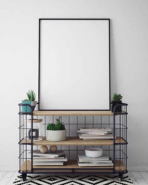 mock up poster frame in hipster interior background, scandinavian style - bilder poster stock-fotos und bilder