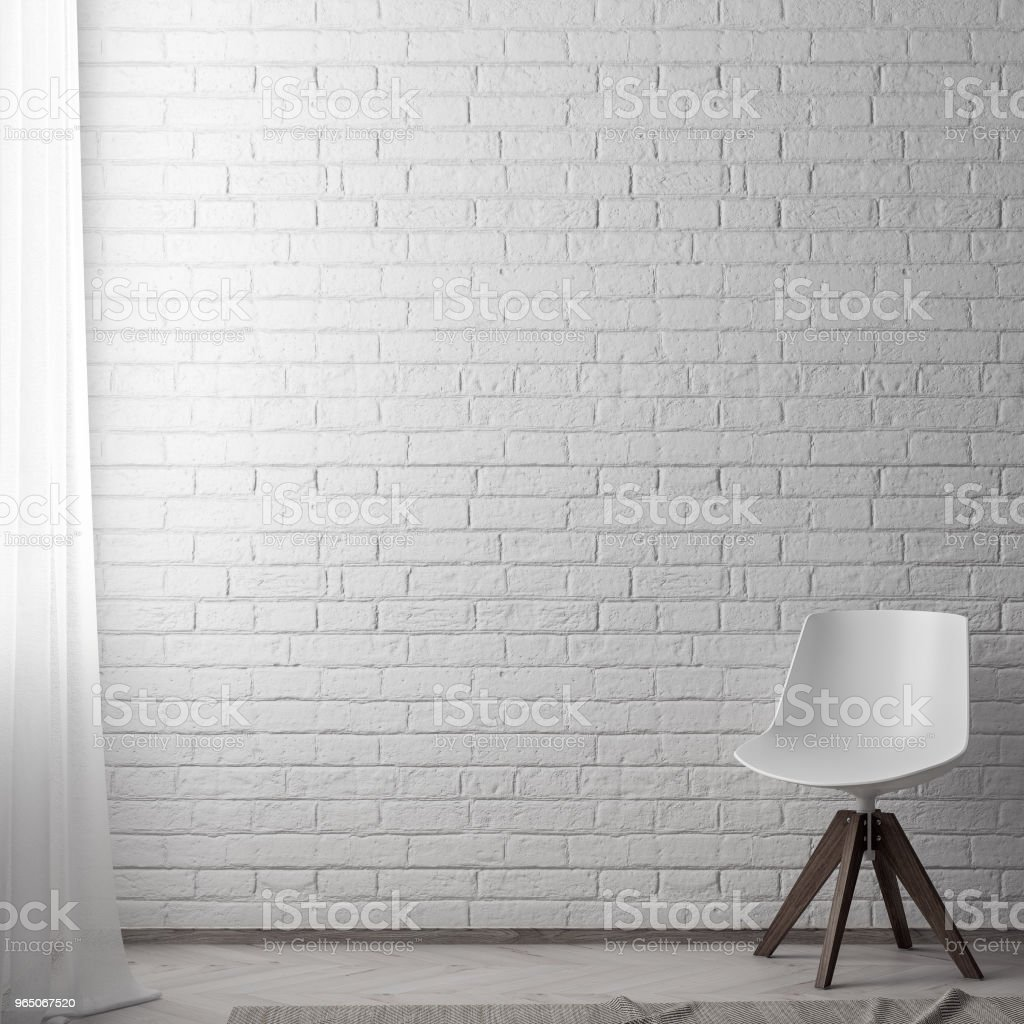 Mock up poster frame in hipster interior background with brick wall, 3D illustration zbiór zdjęć royalty-free