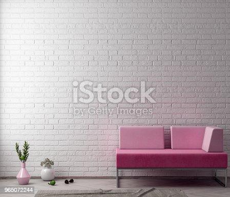 Mock Up Poster Frame In Hipster Interior Background With Brick Wall 3d Illustration - Stockowe zdjęcia i więcej obrazów Architektura