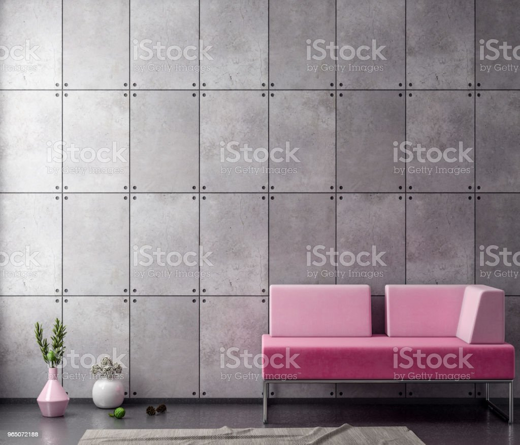 Mock up poster frame in hipster interior background with concrete wall, 3D illustration royalty-free stock photo