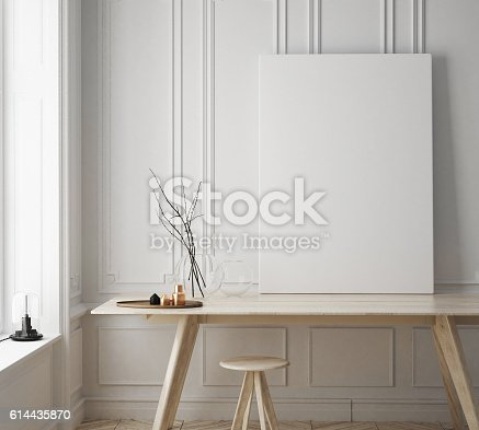 istock mock up poster frame in hipster room, scandinavian style interior 614435870