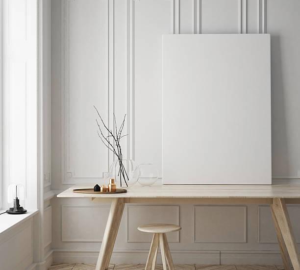 mock up poster frame in hipster room, scandinavian style interior - schild mode stock-fotos und bilder