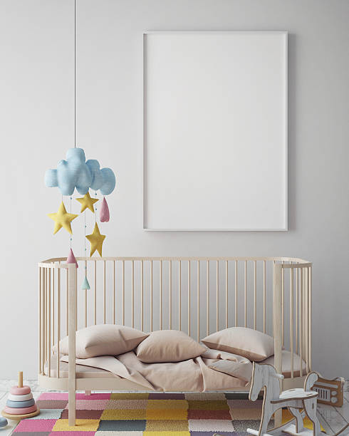 mock up poster frame in hipster room, scandinavian style interior - kinderzimmer wand stock-fotos und bilder
