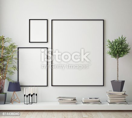 istock mock up poster frame in hipster room, scandinavian style interior 614436040