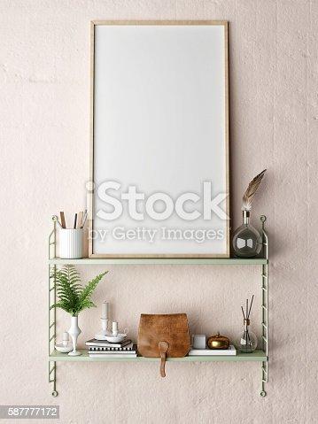 istock mock up poster frame in hipster shelf 587777172