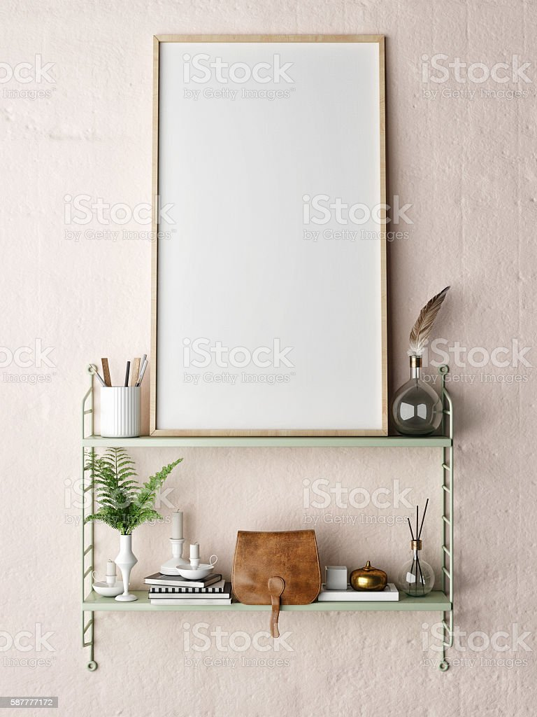 mock up poster frame in hipster shelf stock photo