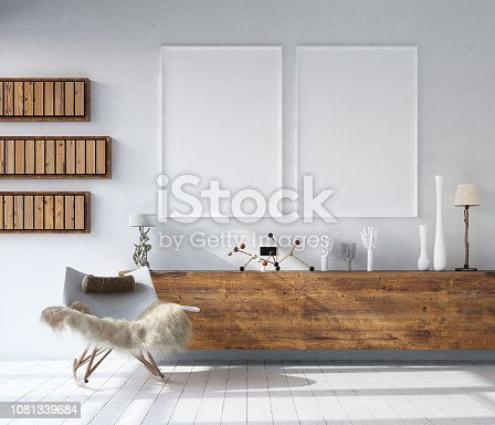 1027116110 istock photo Mock up poster frame in home interior background, Bohemian style living room 1081339684