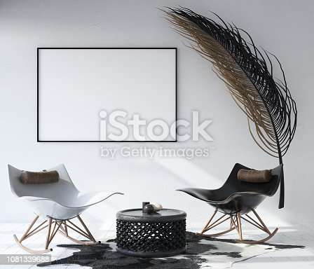1027116110 istock photo Mock up poster frame in home interior background, Bohemian style living room 1081339688