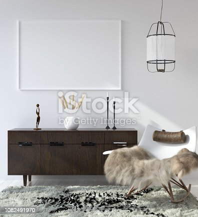 1027116110 istock photo Mock up poster frame in home interior background, Bohemian style living room 1082491970