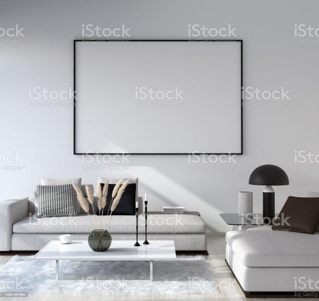 Mock Up Poster Frame In Home Interior Background Modern ...