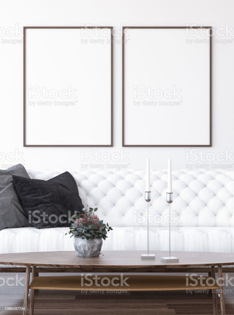 Mock Up Poster Frame In Home Interior Background Modern Style Living Room  Stock Photo - Download Image Now