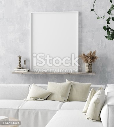 1027116110 istock photo Mock up poster frame in home interior background, Scandi-boho style 1142696492