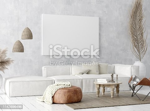 1027116110 istock photo Mock up poster frame in home interior background, Scandi-boho style 1142696496