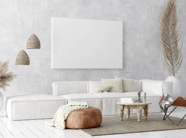 mock up poster frame in home interior background, scandi-boho style - home decor boho imagens e fotografias de stock
