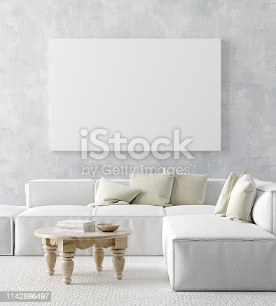 1027116110 istock photo Mock up poster frame in home interior background, Scandi-boho style 1142696497