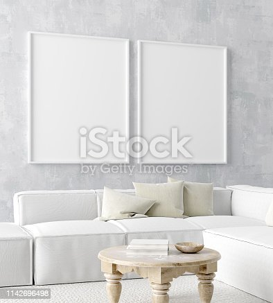 1027116110 istock photo Mock up poster frame in home interior background, Scandi-boho style 1142696498