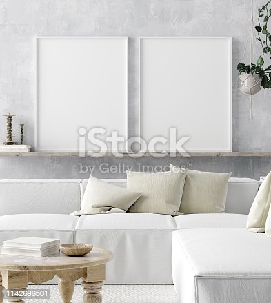 1027116110 istock photo Mock up poster frame in home interior background, Scandi-boho style 1142696501