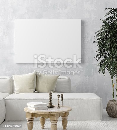 1027116110 istock photo Mock up poster frame in home interior background, Scandi-boho style 1142696502