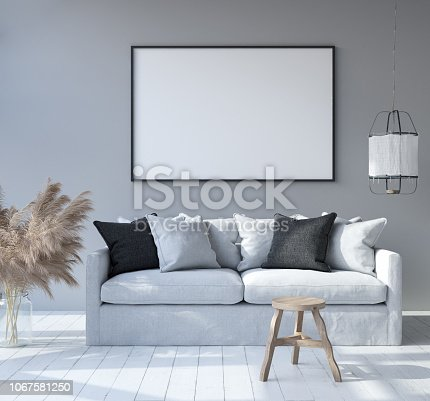 1027116110 istock photo Mock up poster frame in home interior background, Scandinavian Bohemian style living room 1067581250