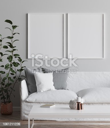 1027116110 istock photo Mock up poster frame in interior background, Scandi-Boho style living room 1061211226