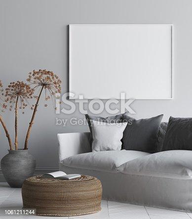 1027116110 istock photo Mock up poster frame in interior background, Scandi-Boho style living room 1061211244